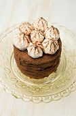 Layer Cake With Cocoa And Meringue