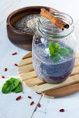 Blueberry, chia and goji vegan pudding