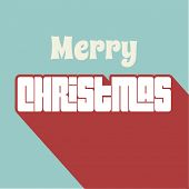 Merry Christmas typography background with long shadow