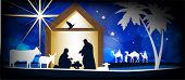 Christmas Christian nativity scene, three wise men or kings, farm animals and star of Bethlehem