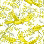 stock photo of mimosa  - Seamless Spring Pattern with Sprig of Mimosa and Yellow Bird - JPG