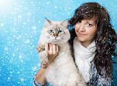 Charming Young Woman With Siberian Cat