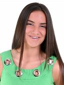 Beautiful Teen Girl With Smile Wearing Braces poster