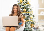 Happy Young Woman With Credit Card Using Laptop Near Christmas T