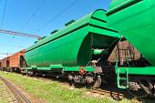 foto of railroad car  - Grain hoppers standing on the railway track - JPG