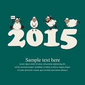Cute new year card with cartoon sheep and 2015 snow figures