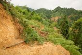 Close view of landslide in china