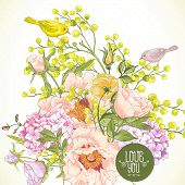 pic of hydrangea  - Gentle Spring Floral Bouquet with Birds - JPG
