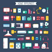 Set of electronic devices and home appliances colorful icons in flat style.