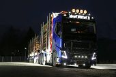 Volvo FH16 Logging Truck Lights In Darkness