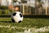 Soccer Ball On A Grass Field.