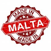 Made In Malta Red Stamp Isolated On White Background