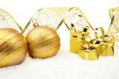 Golden Christmas Gifts,bauble Ribbon On Snow