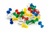 Photo of isolated colored pushpin