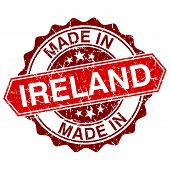 Made In Ireland Red Stamp Isolated On White Background
