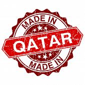 Made In Qatar Red Stamp Isolated On White Background