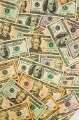 many american dollar bills. photo icon for debt and wealth