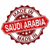 Made In Saudi Arabia Red Stamp Isolated On White Background