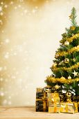 Christmas tree with golden decoration