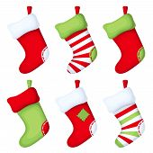 Set of Christmas socks. Vector illustration.