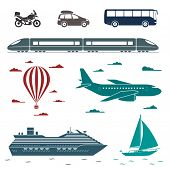 Various types of transport: car, bus, train, plane, air balloon, sailing boat, ship with long shadow effect. Vector set of different means of transportation.