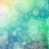 New Year Blur Background With Snowflakes