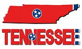 Tennessee map flag and text illustration