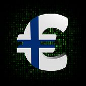 Euro symbol with Finnish flag on hex code illustration