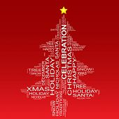 Conceptual Christmas or Celebration fir tree made of text as wordcloud isolated on red background