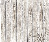 Old vintage wood background with compass