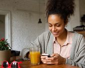 Smiling Young Woman Looking At Mobile Phone