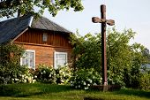 Country Seat With Wooden Cross