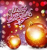 christmas background with greeting inscription and gold balls