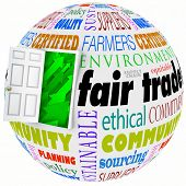 Fair Trade open door policy words on a globe or planet earth to illustrate international business performed by global or multi-national corporations