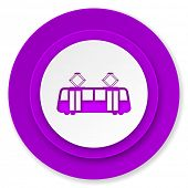 tram icon, violet button, public transport sign