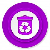 recycle icon, violet button, recycling sign