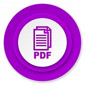pdf icon, violet button, pdf file sign