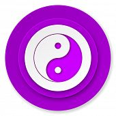 ying yang icon, violet button
