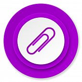 paperclip icon, violet button