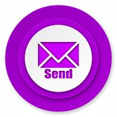 send icon, violet button, post sign