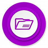 folder icon, violet button