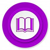 book icon, violet button
