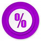 percent icon, violet button