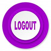 logout icon, violet button