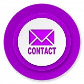email icon, violet button, contact sign