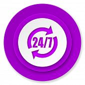 service icon, violet button