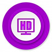 hd display icon, violet button