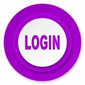login icon, violet button