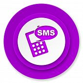sms icon, violet button, phone sign