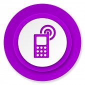 phone icon, violet button, mobile phone sign